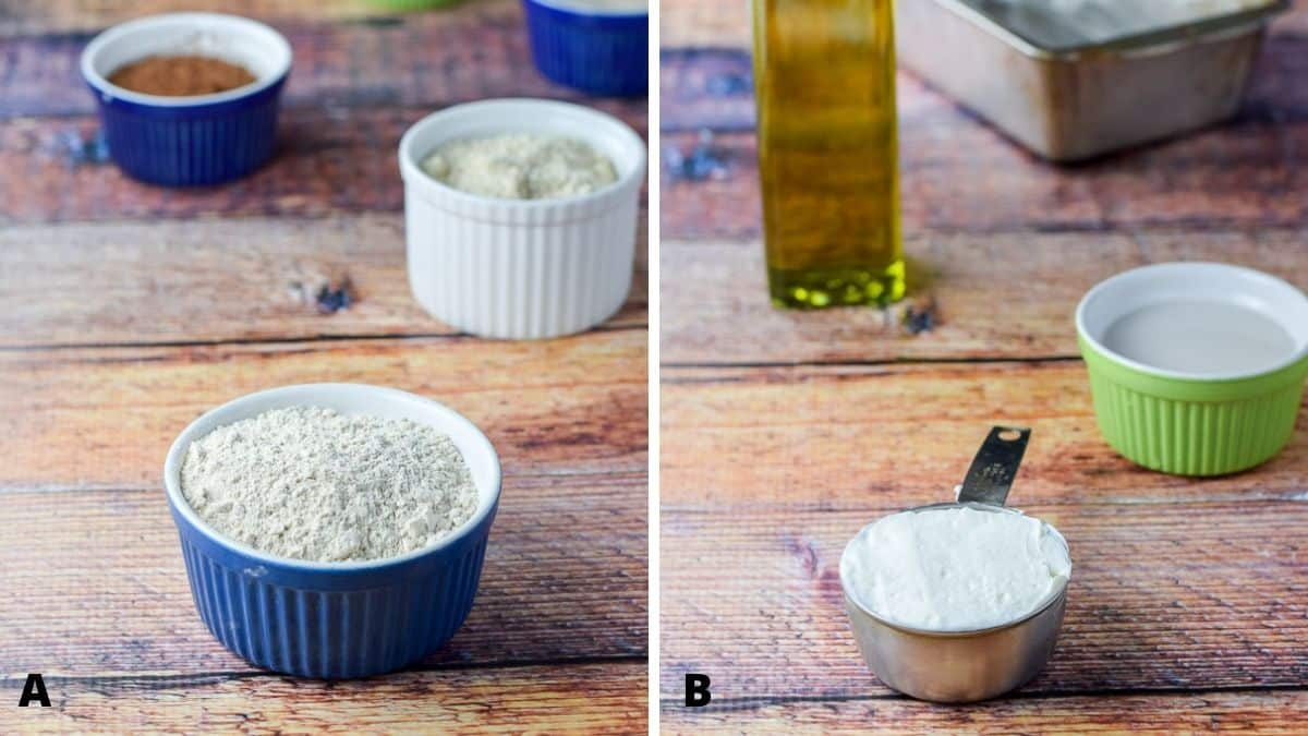 Flours, cocao, sugar on the left and yogurt, oil and a bread pan on the right