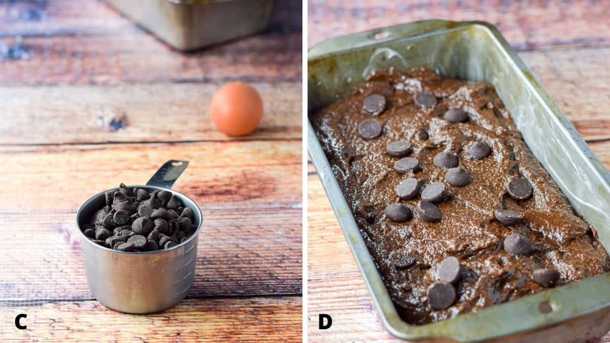 chocolate chips and an egg on the left and the batter in the pan on the right