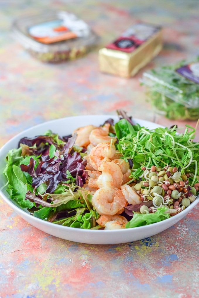 Shrimp in a row, with some bean sprouts and pea shoots for the Smorgasbord Garlic Shrimp Salad
