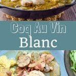 This delicious Coq au Vin blanc recipe is super easy. I use white wine and chicken thighs which makes for tender meat!