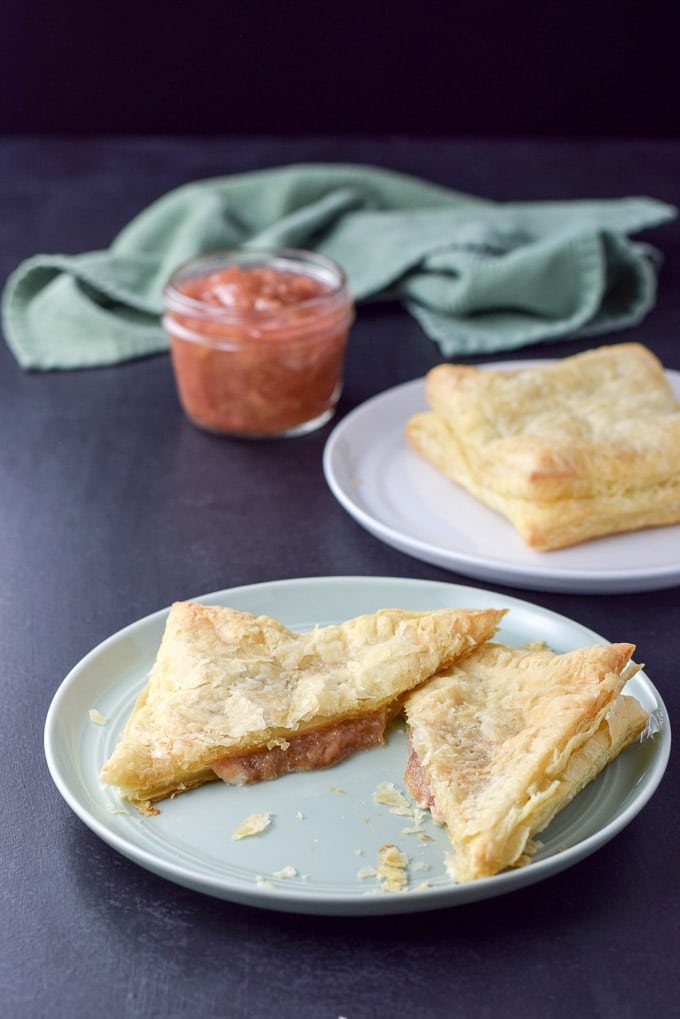 Cream cheese rhubarb pastry cut in half ready to eat!