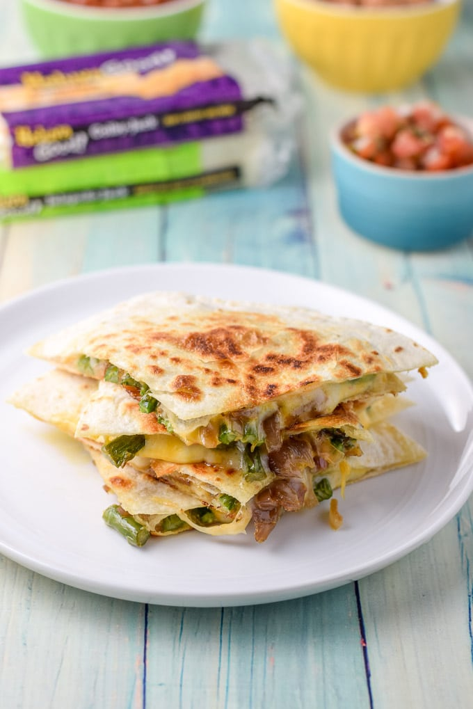 Close up of the deliciously cheesy vegetarian quesadillas