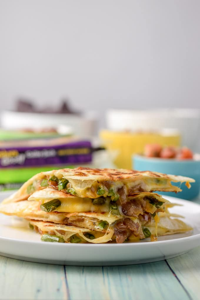 Vertical view of the deliciously cheesy vegetarian quesadillas