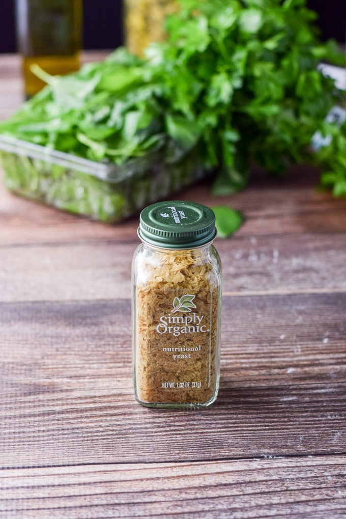 Another shot of the Nutritional yeast for the versatile vegan pesto sauce