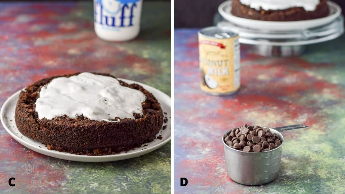 On the left - fluff spread on the cake and on the right the ingredients for the ganache - chocolate and coconut milk