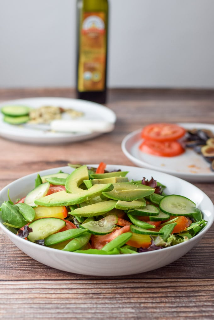 Avocado and cucumber added to the yellow beet and fig salad