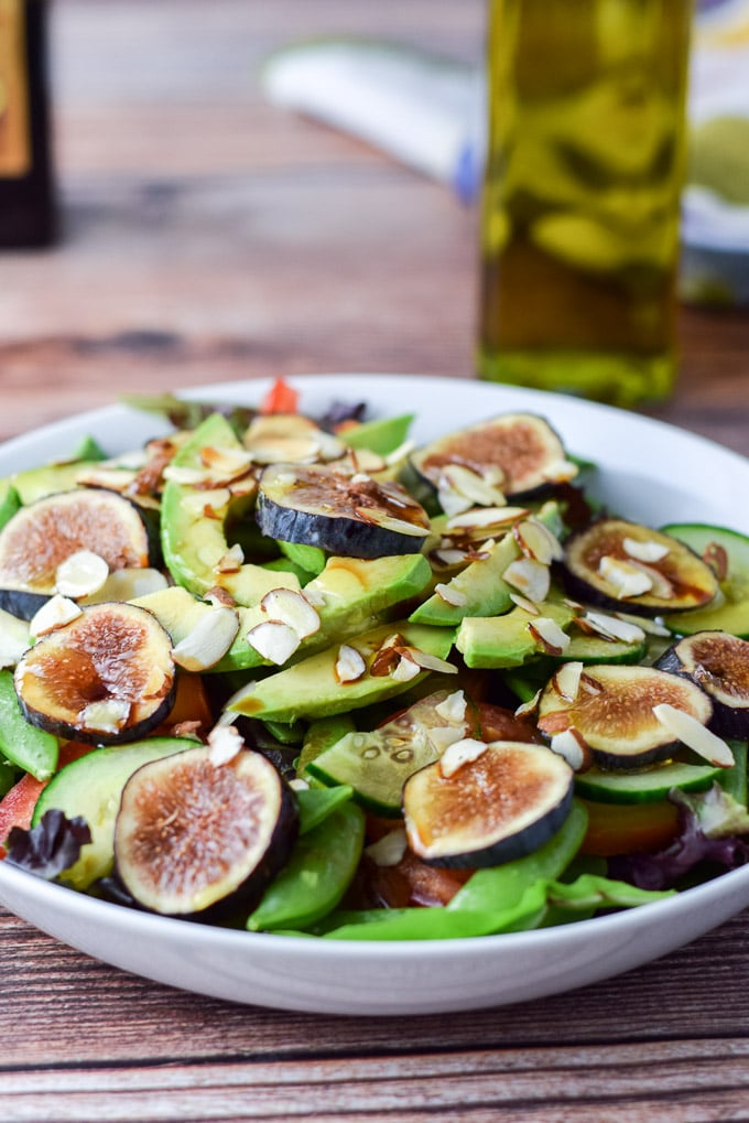 Close up of the yellow beet and fig salad