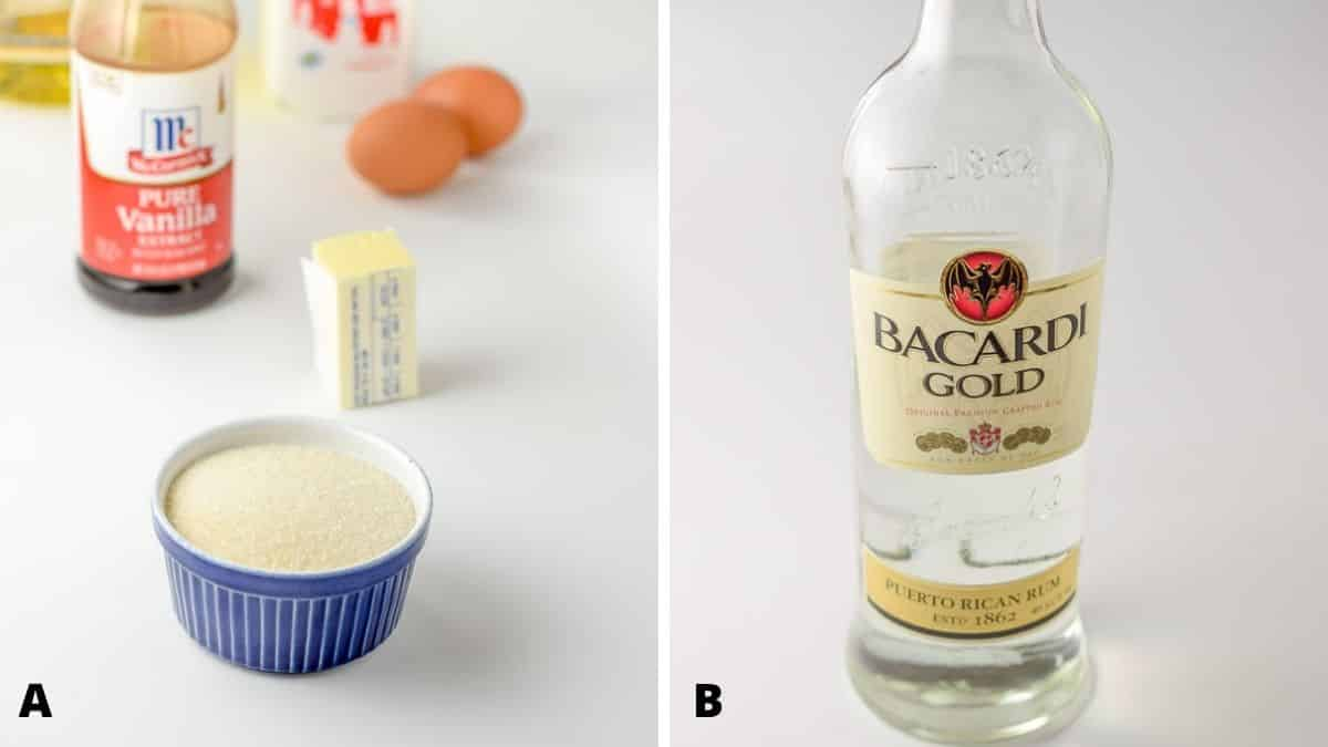 On left - sugar, butter, vanilla, eggs, milk and oil. On right - a bottle or clear rum
