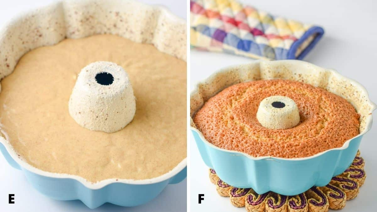 On the left - cake batter poured into the bundt pan. On the right - cake in a bundt pan straight out of the oven