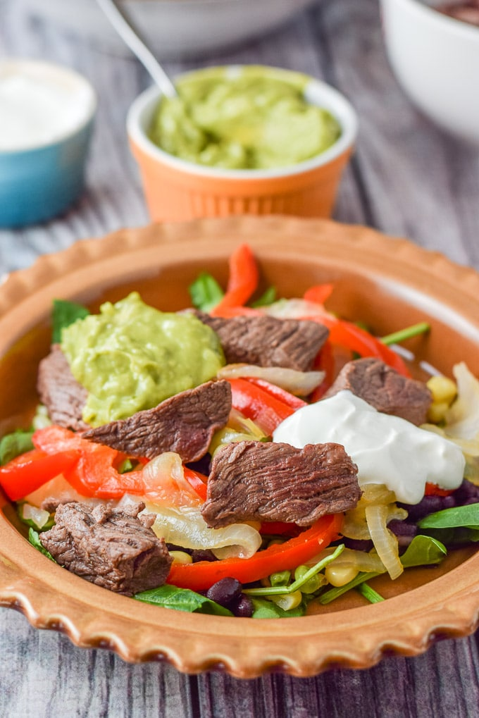 Close up of the steak fajita burrito bowl