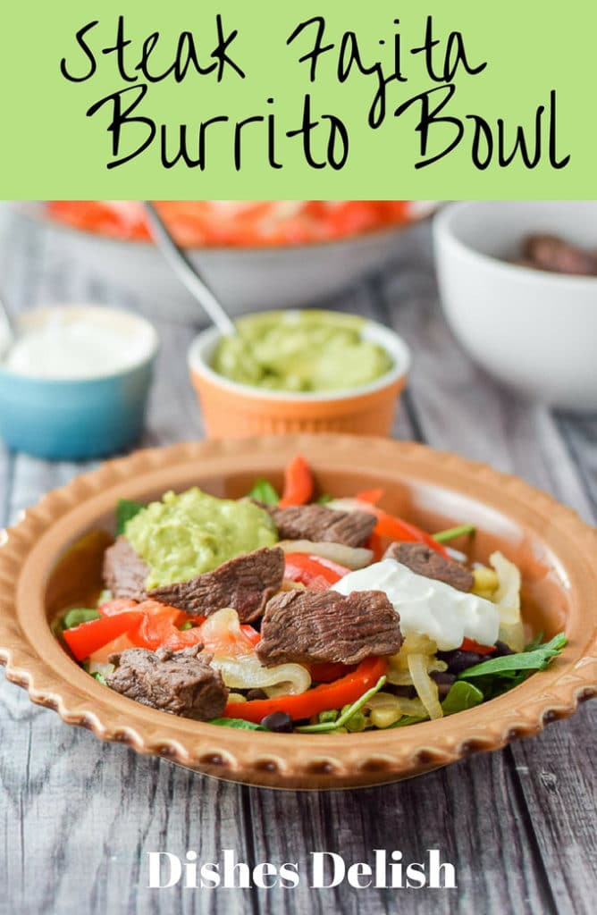 Steak fajita burrito bowls are so scrumptious that you are going to want to dance around a sombrero when you eat this!