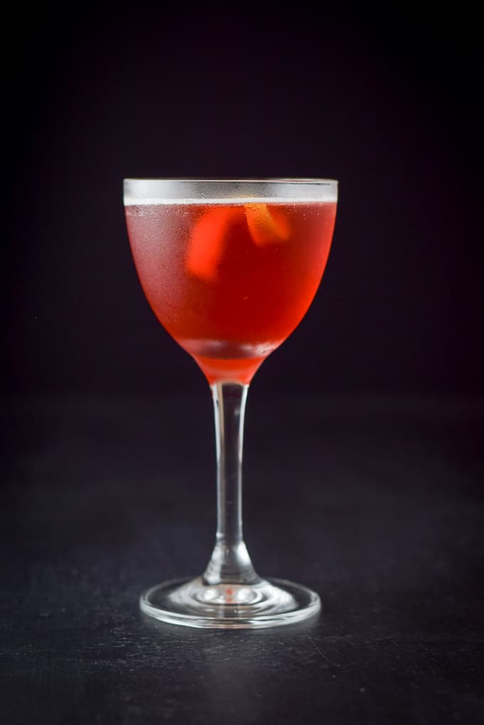 Vertical view of the balanced Boulevardier cocktail