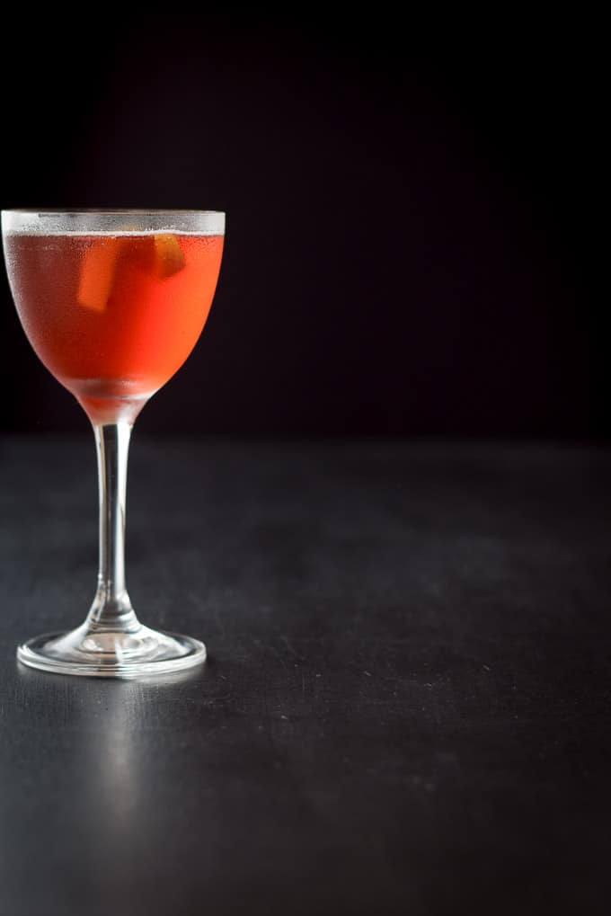 A far away view of the balanced Boulevardier cocktail