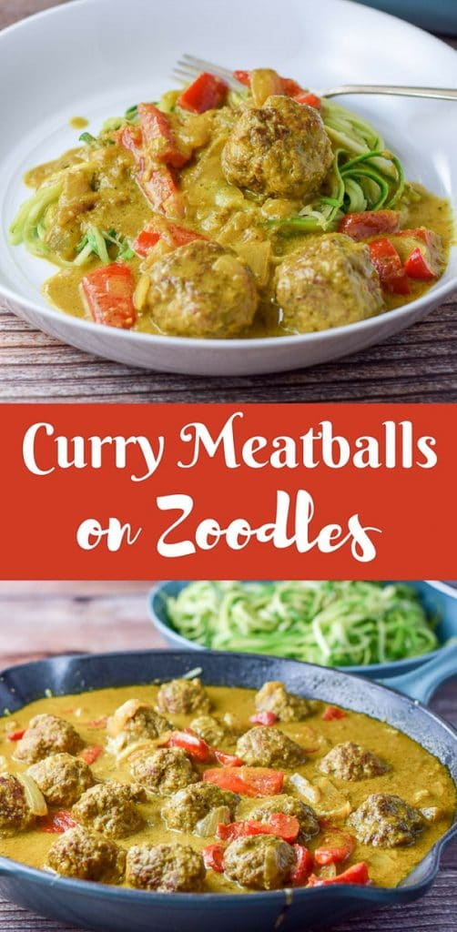 Curry Meatballs on Zoodles for Pinterest