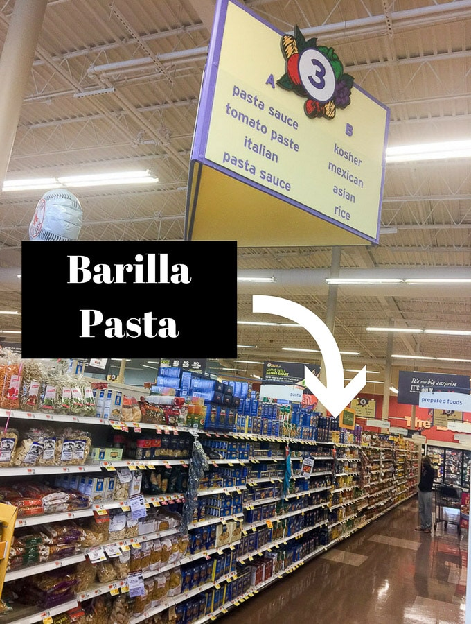 Big Y store, pasta aisle with arrow