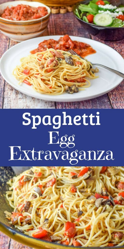 Imagine some delicious spaghetti with sautéed with shallots, pepper and mushrooms, then imagine sautéing them with some eggs!