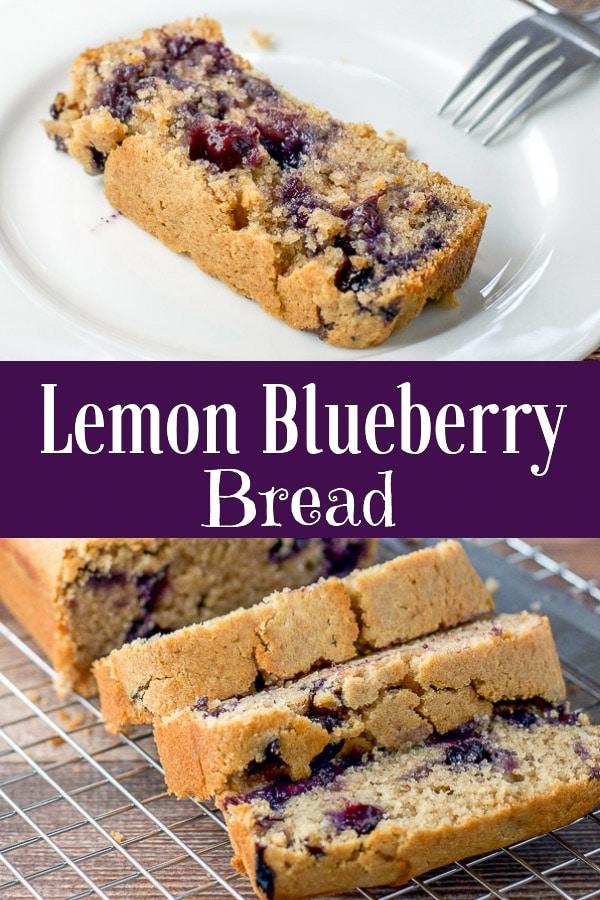 Vegan lemon blueberry bread for Pinterest