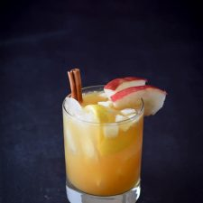 Closer view of the apple cider bourbon smash cocktail in all it's glory