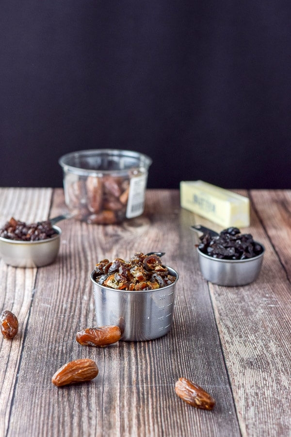 Dates, prunes, raisins and butter for the date nut muffins