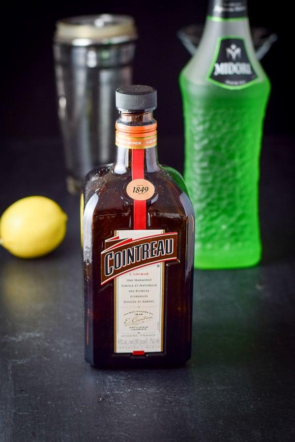 Cointreau, midori and lemon for the jump for joy Japanese slipper cocktail