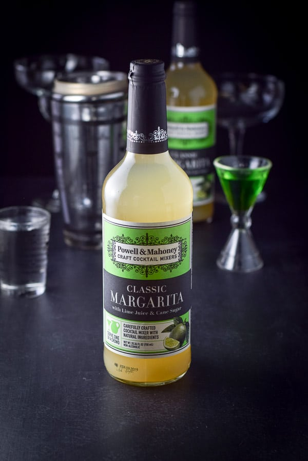 Powell & Mahoney's classic margarita in the bottle along with some melon liquor and tequila