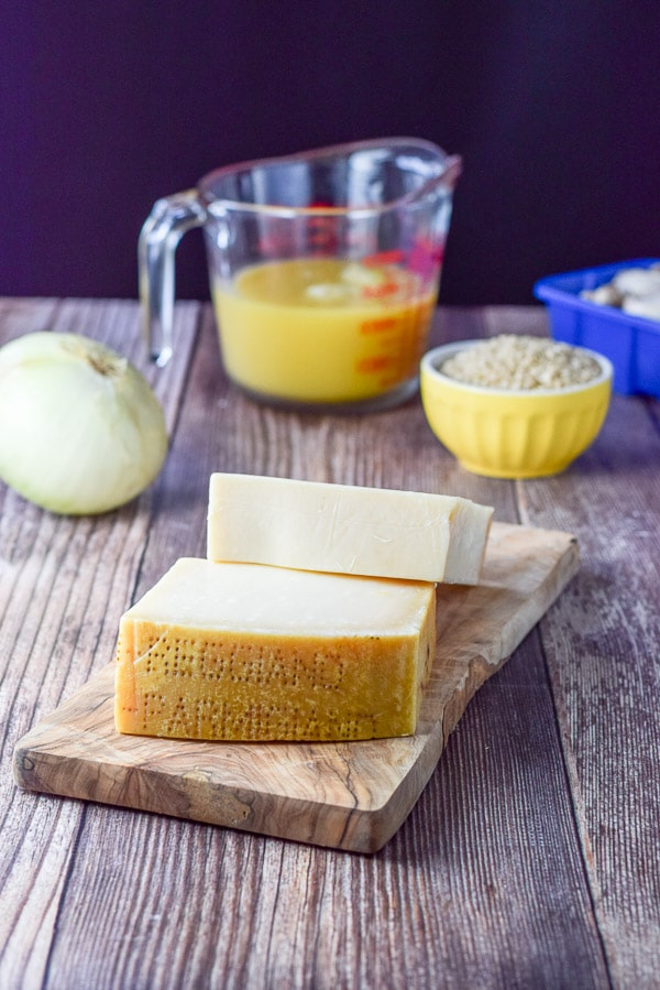 Beautiful and tasty Reggiano Parmigiano cheese for the marvelous mushroom rice casserole