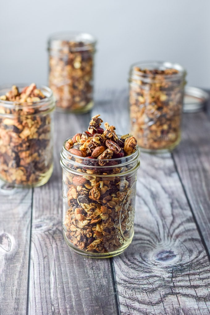 Jars up nutty granola ready to be gifted