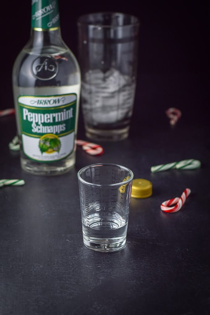 Peppermint schnapps poured out