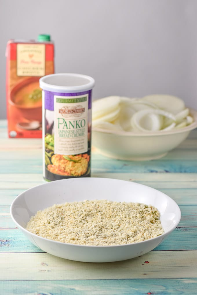 Panko crumbs and bread crumbs, onions and chicken broth for the moist pork chops