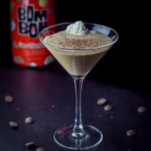 A dollop of whipped cream in the chocolate coconut cocktail - square