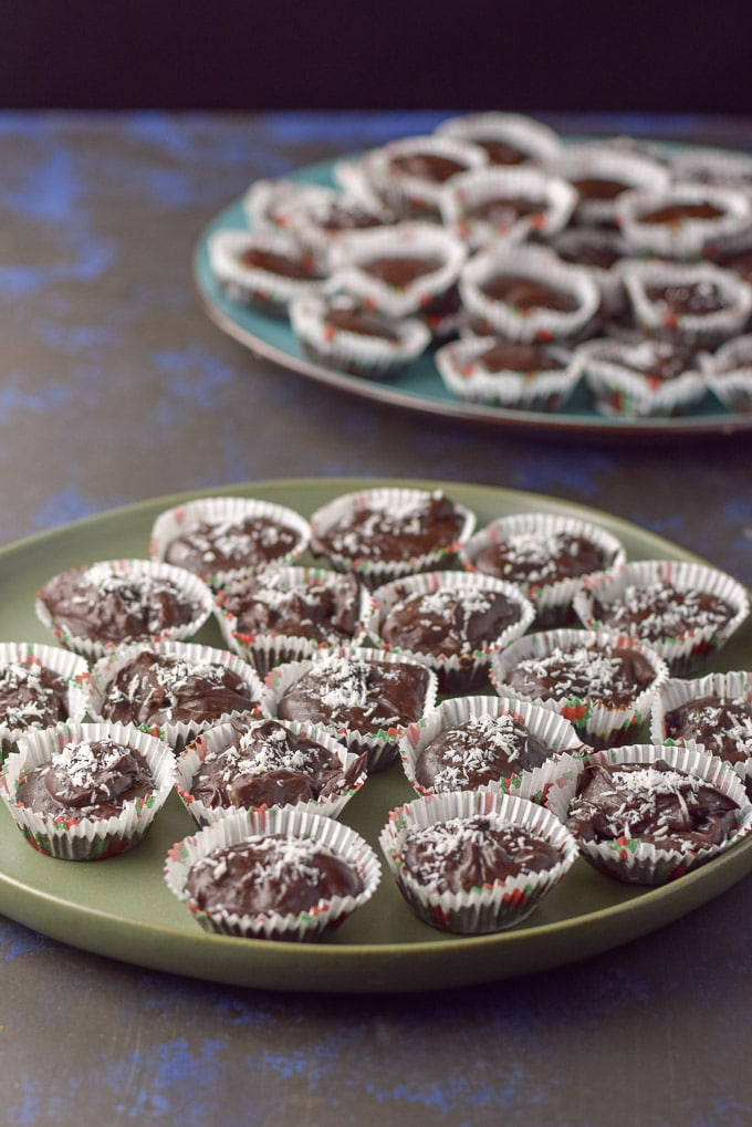 two plates of chocolate truffles ready to be consumed