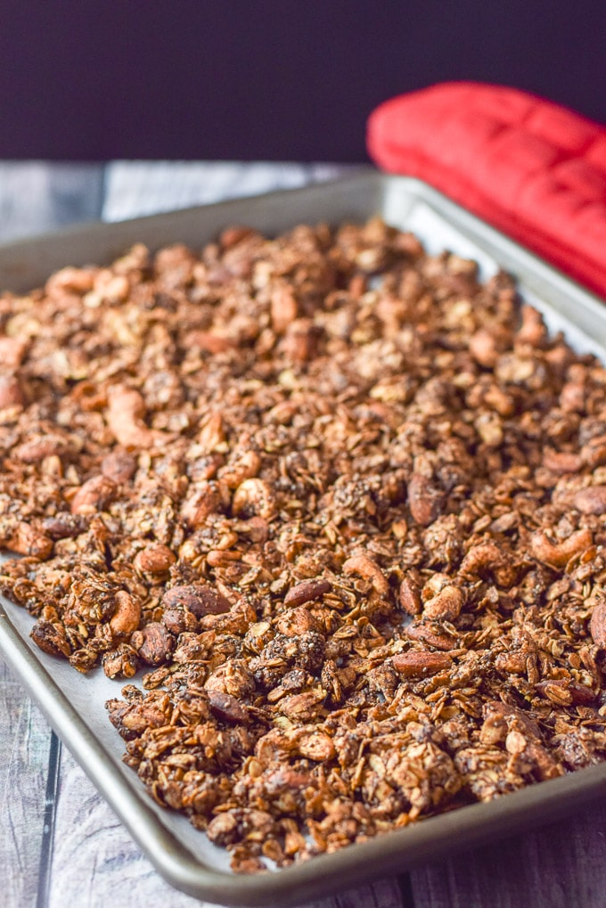 Chocolate peanut butter granola straight out of the oven
