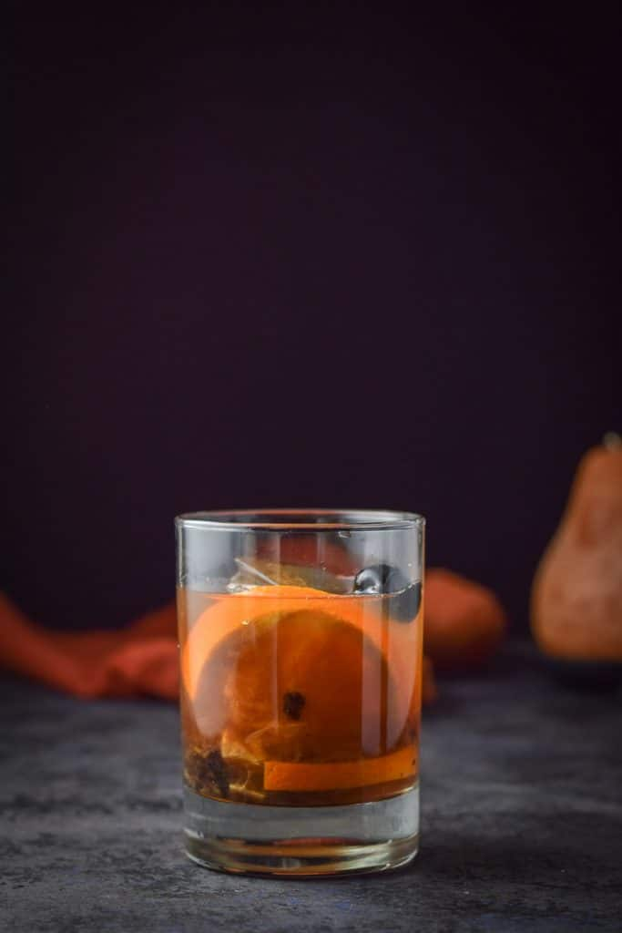 Vertical view of the classic old fashioned cocktail