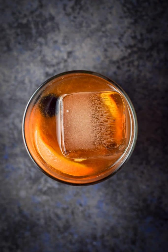 Overhead view of the finished old fashioned cocktail