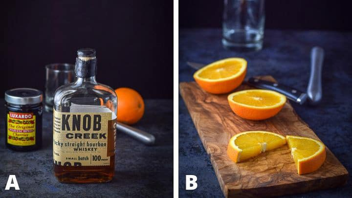 Left - bourbon, orange, cherries, muddler and glass. Right - sliced oranges on a wooden board