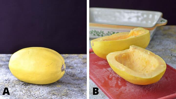 spaghetti squash whole and then cut in half with a baking dish in the background