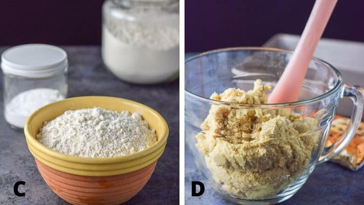 Left - flours and baking soda. Right all the ingredients mixed together in a clear bowl