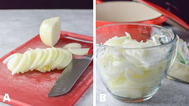 The sliced onions on a red board and then placed in a glass bowl