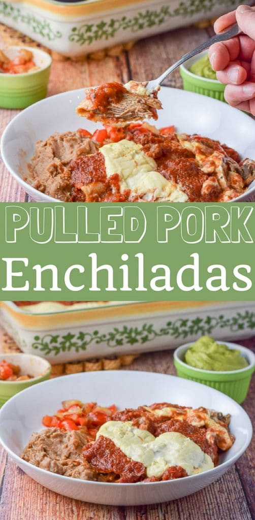 Pulled pork enchiladas are so easy! You use leftover pulled pork. I use two sauces on it but you can use one! The pulled pork is so incredibly tasty and succulent!