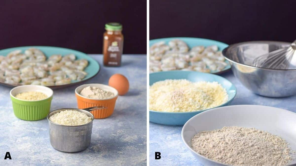 On the left - panko, bread crumbs, coconut, egg and flour. On the right - the flour in one bowl, and bread crumbs in another with raw shrimp in the background
