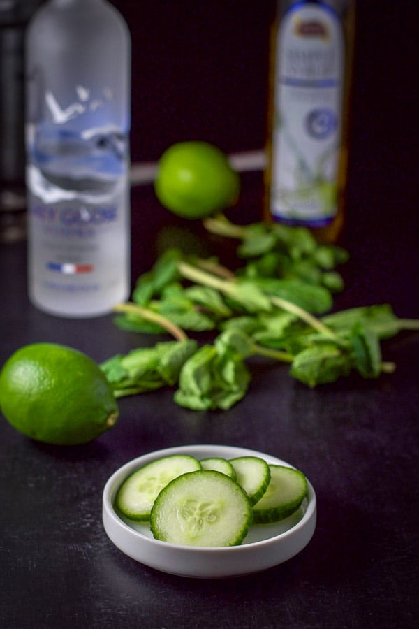 Sliced cucumbers, limes, fresh mint, vodka and simple syrup for the martini