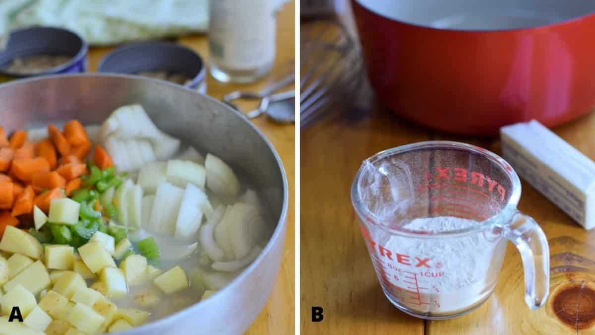 On the left - veggies and clam juice and on the right - the roux ingredients