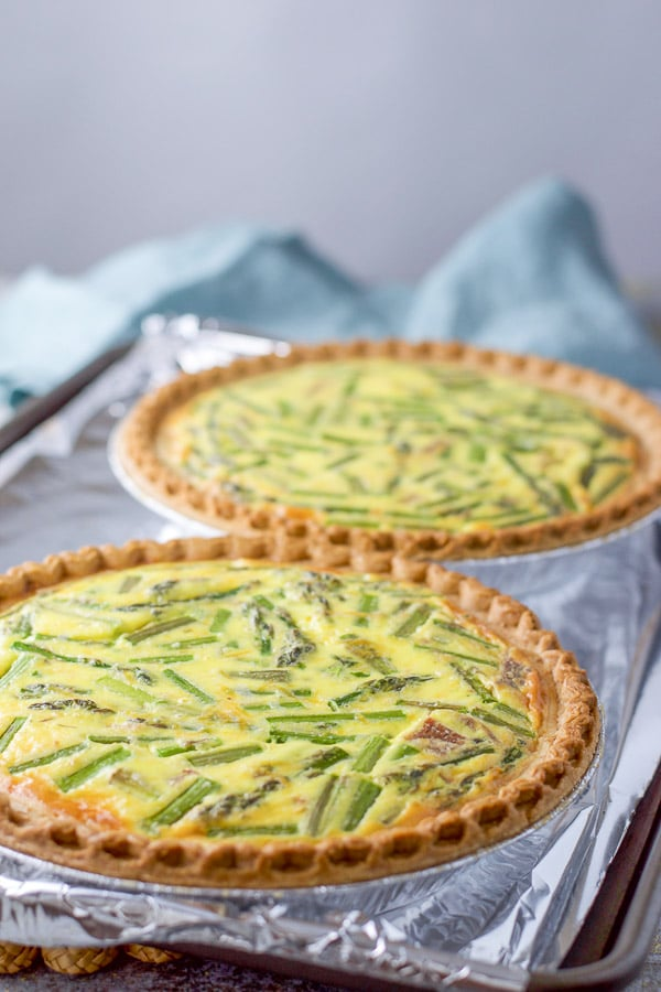 Ham and asparagus quiche fresh out of the oven looking all puffy and delicious