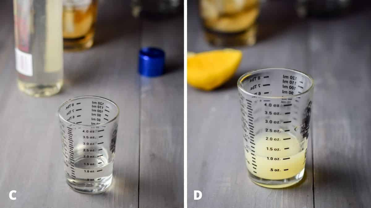 Simple syrup measured out with bottle in the background on left and on the right - lemon squeezed out with the lemon in the background