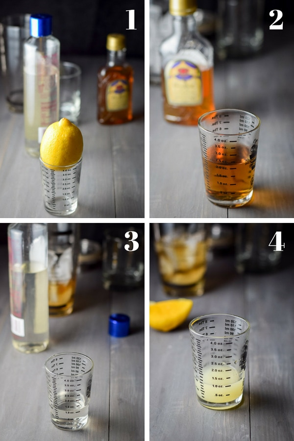 Whiskey, simple syrup and lemon measured out