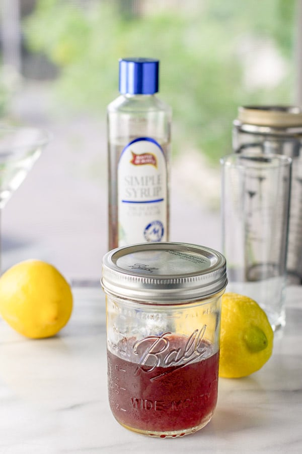 Cherry infused vodka, lemons and simple syrup for the drink