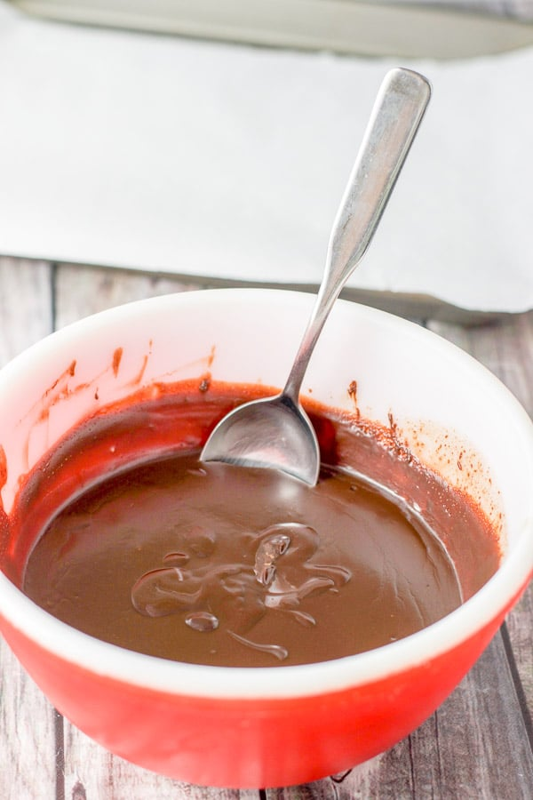 The truffle batter still in the bowl fresh out of the fridge