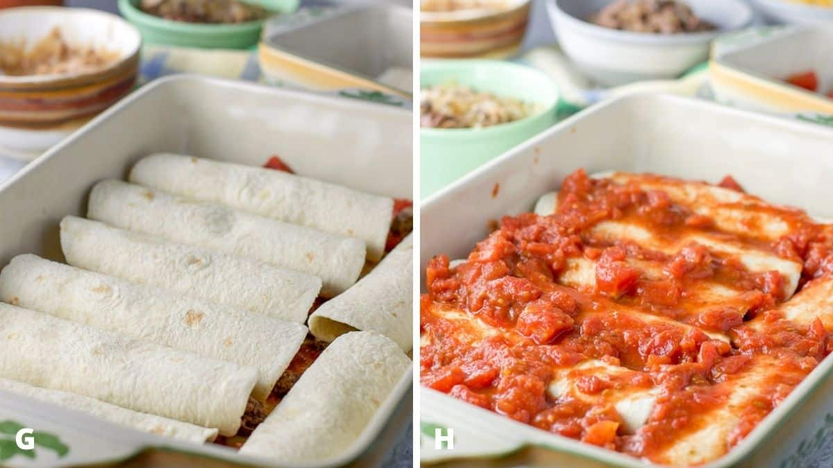 Left - enchiladas rolled and put in a baking dish. Right - enchilada sauce spooned on the enchiladas