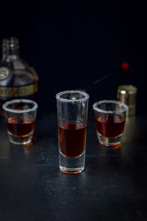 Chambord poured into the sugar rimmed glasses