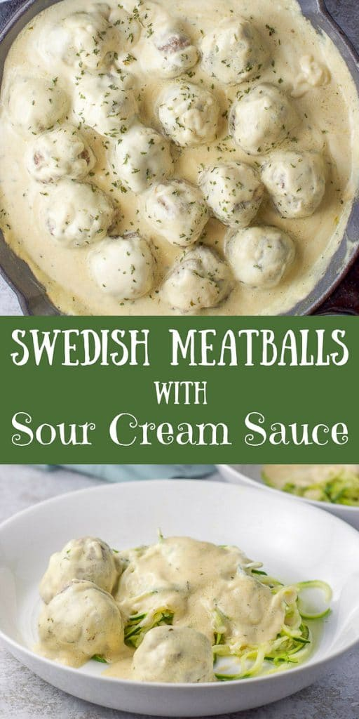 Swedish Meatballs with Sour Cream Sauce for Pinterest